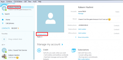 Skype Profile Picture Setting